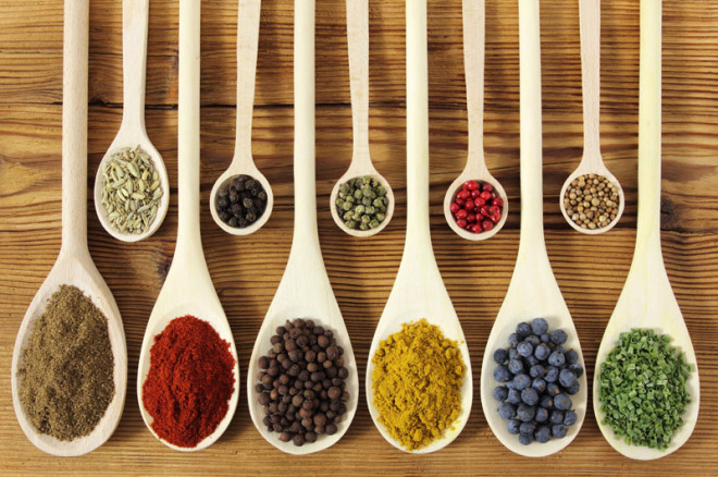 colorful-spices-in-wooden-spoons